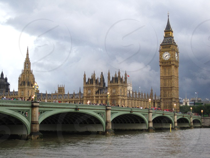 The very famous Big Ben bell up in the clock tower in London England. photo