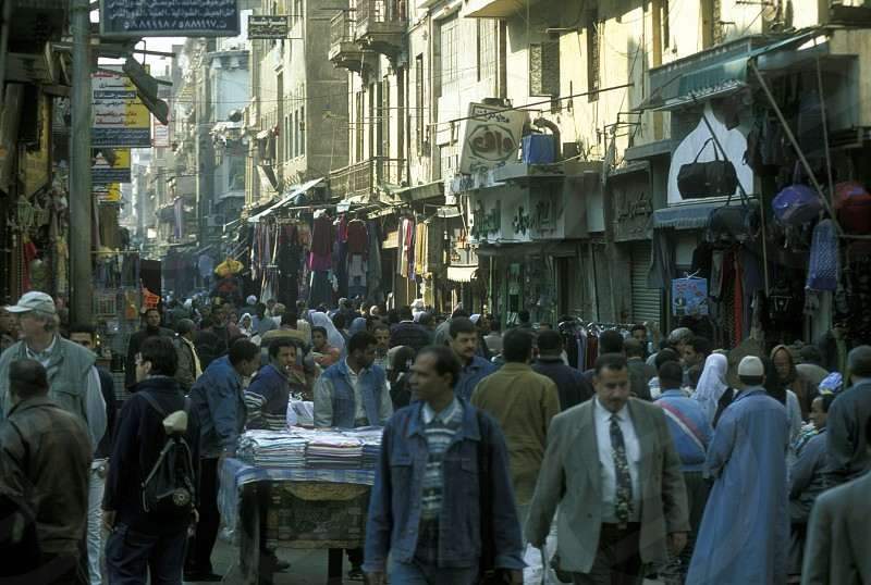 the souq or market in the old town of Cairo the capital of Egypt in north africa photo