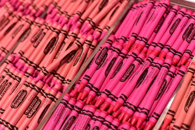 Vibrant coral crayons photo