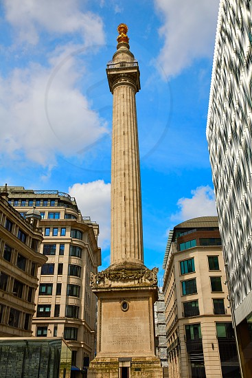 London Monument to the Great Fire column in england photo