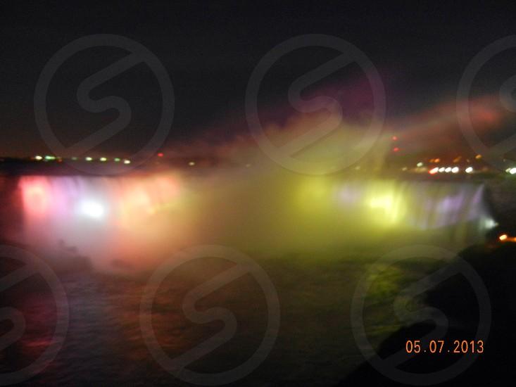 Niagara Falls; fog; lights photo