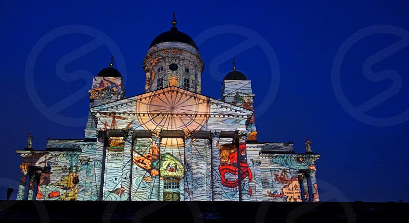 Helsinki Cathedral on the Senate Square at the Lux Helsinki light arts festival.  photo