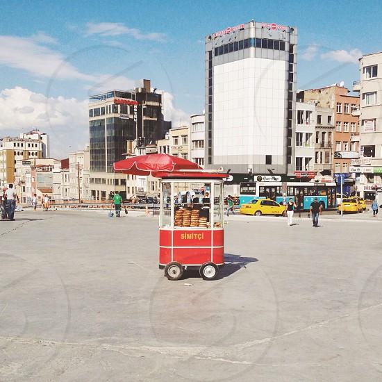 red pushcart  photo