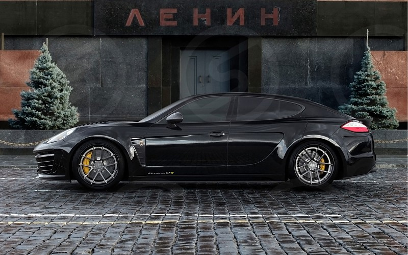 Sportish black car porsche in Moscow - by the mausoleum ;) photo