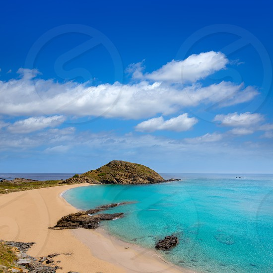 Menorca Cala Sa Mesquida Mao Mahon turquoise beach in Balearic islands photo