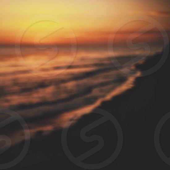 Sunset perspective waves ocean colors California warmth  photo