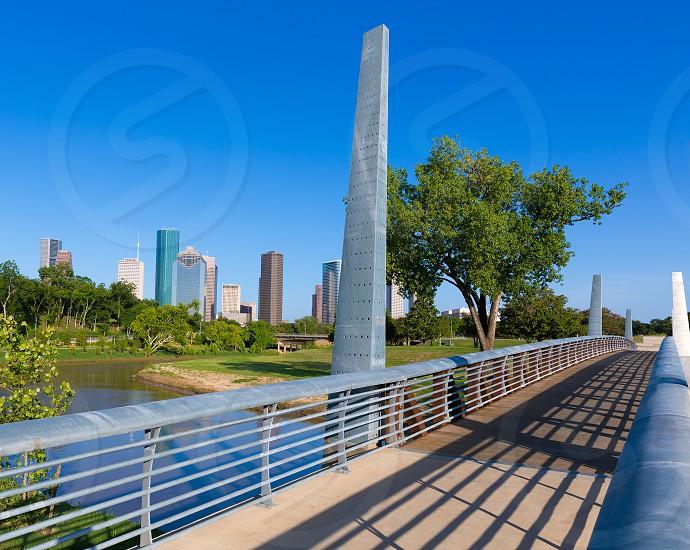 Houston skyline from Memorial park at Texas USA US photo