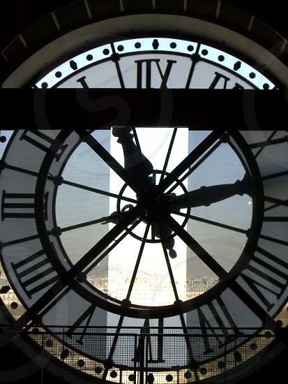 Train station clock in Musee D'Orsay Paris France.  photo