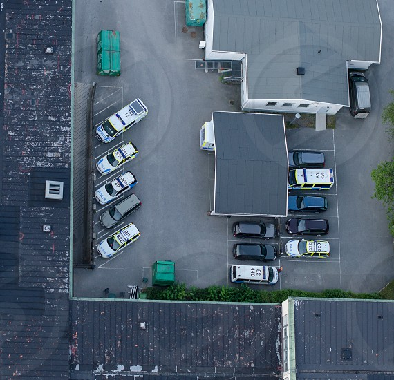 cars parked in parking lot photo