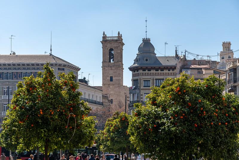 VALENCIA SPAIN - FEBRUARY 25 :  Placa de la Reina in Valencia Spain on February 25 2019. Unidentified people photo