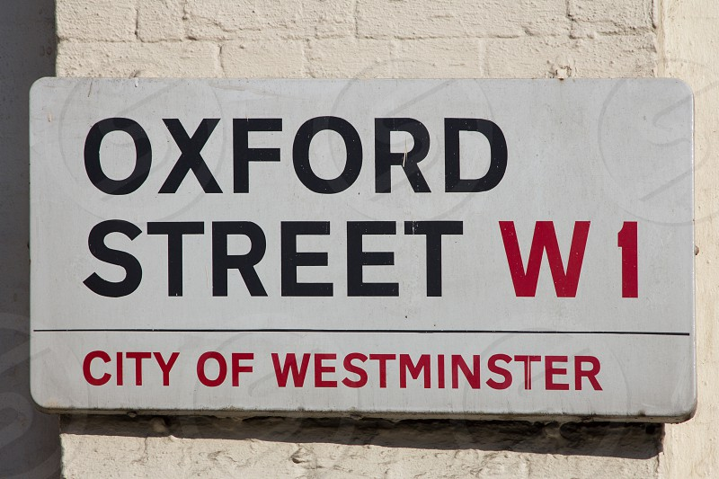 Streetsign Oxford Street Urban Shopping City Capital Black red photo