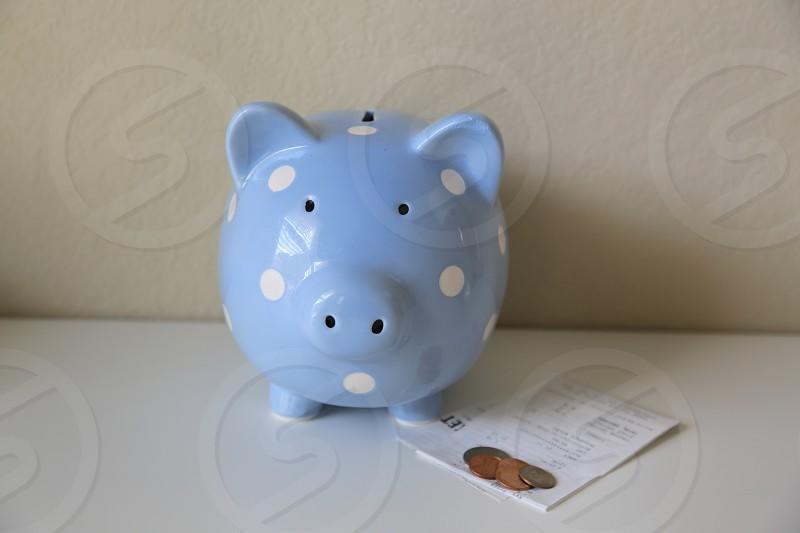 Blue piggy bank photo