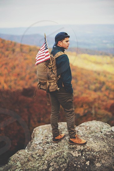 American Flag adventure Shenandoah trail fall nature boy man backpacking hike landscape view mountains photo