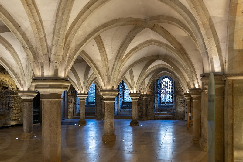 ROCHESTER KENT/UK - MARCH 24 : View of the crypt in the Cathedral at Rochester on March 24 2019 photo