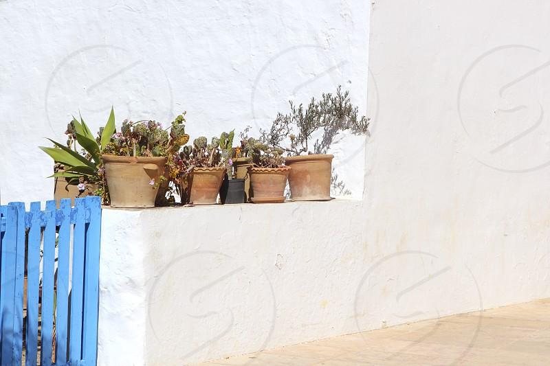 white mediterranean house detail in Formentera Balearic islands photo