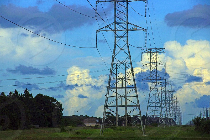 electrical towers with wires photo