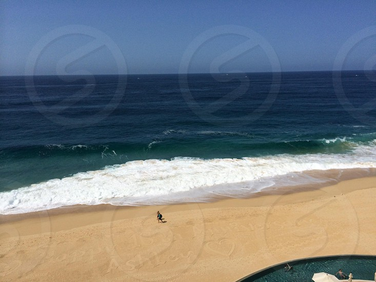 View of the beach from a resort in Cabo San Lucas.  photo
