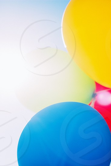 blue red yellow and white balloons photo