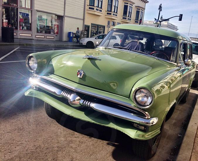 vintage ford sedan green photo