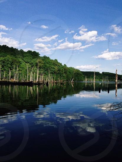 lake and green hills photography photo