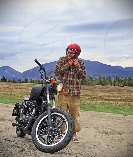 Nature automotive creative motorcycle biker hippy punk tattoos camping wilderness adventure lifestyle sports recreation photo