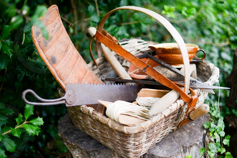 Tools garden vintage colonial basket nature natural living homestead gardening farm tools rusty photo