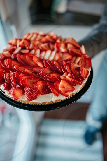 Strawberry tart for 4th of July dessert photo