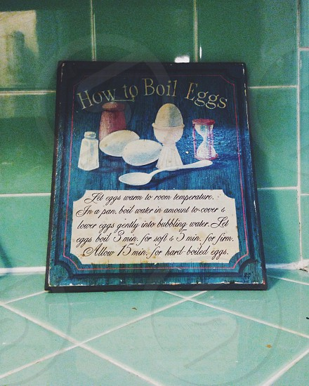How to boil an egg instructions. Kitchen wall hanging photo
