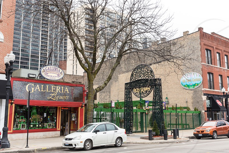 The Old Town Neighborhood of Chicago IL. Shops along Wells. photo