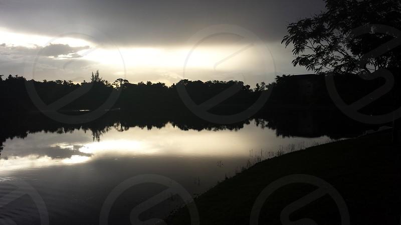 Sunset reflection lake photo
