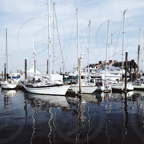 white sailboats parked on water photo