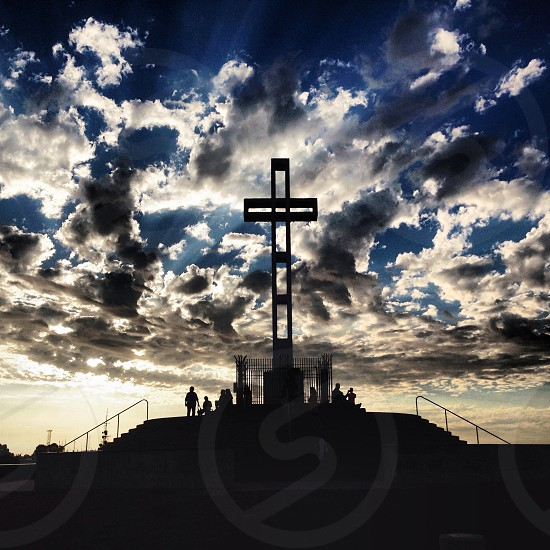 large wooden cross statue photo