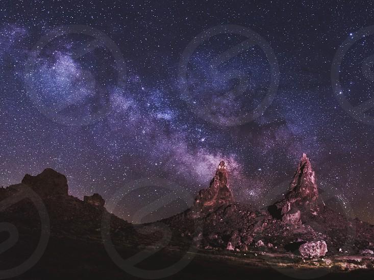 night stars milky way desert tufas  photo