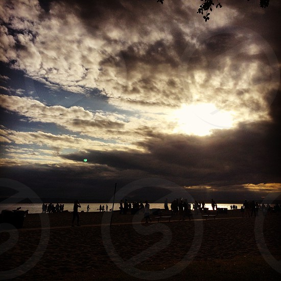 Sunset cloudsbeach photo
