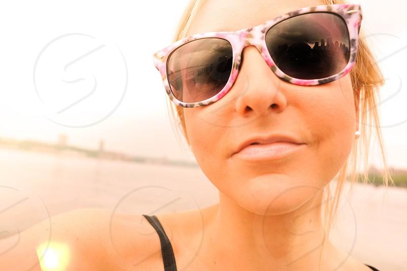 blonde teen young selfie selfee beach summer city nyc island water sailing beach photo