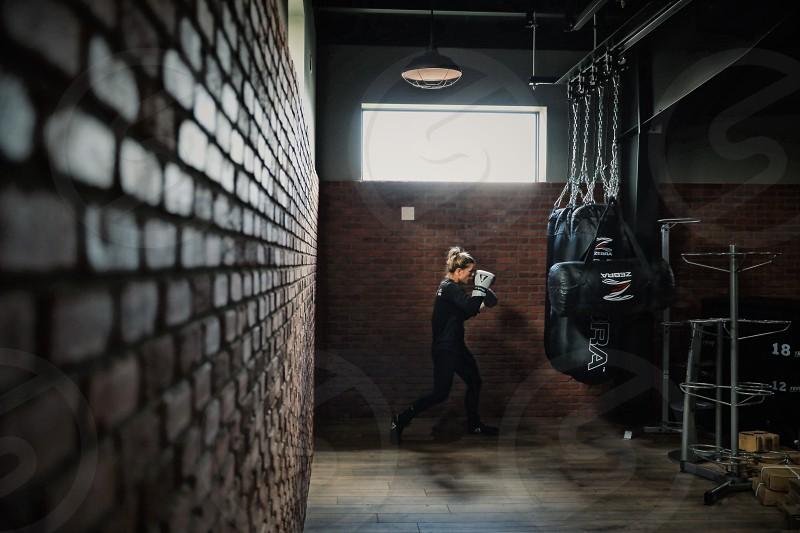 Boxing girl gym female athlete sports tough photo