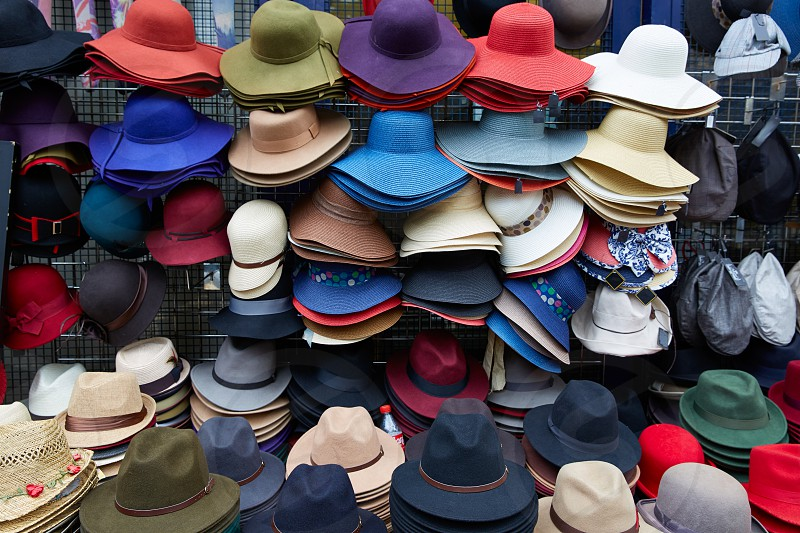 London Portobello road Market vintage hats in UK England photo