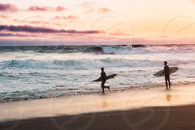 Surfers Surf Ocean Heath Travel Adventure Nature Light Sunset Exploration Fitness Lifestyle  California San Francisco photo