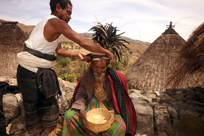 Mambai People and Farmers in the landscape near the Village Maubisse in the south of East Timor in southeastasia.