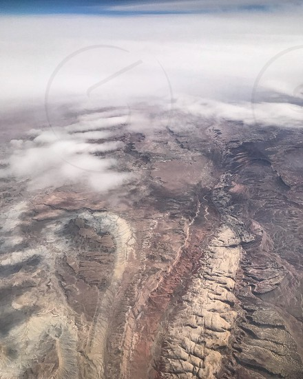 Geology from above. Canyon from airplane. West  photo