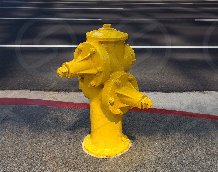 Fire hydrant yellow on downtown Los Angeles California photo
