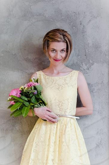 bride wedding veil eye blonde beauty look flowers ring modern yellow bouquet photo