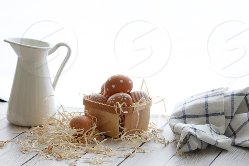 decoration basket paint holiday natural easter eggs decorated photo