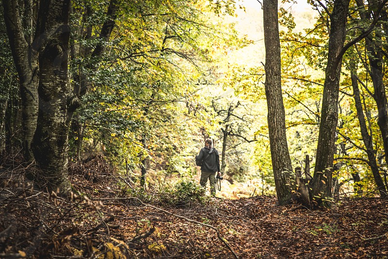 Man Photographer Holding His Camera In Forest In Autumn Season photo
