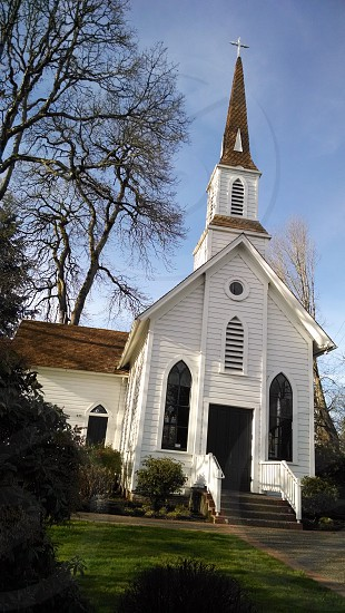 Photo By Bonnie Palzer Old Church Chapel Weddings Wedding Sellwood Oregon White Steeple Cross Religious Historic