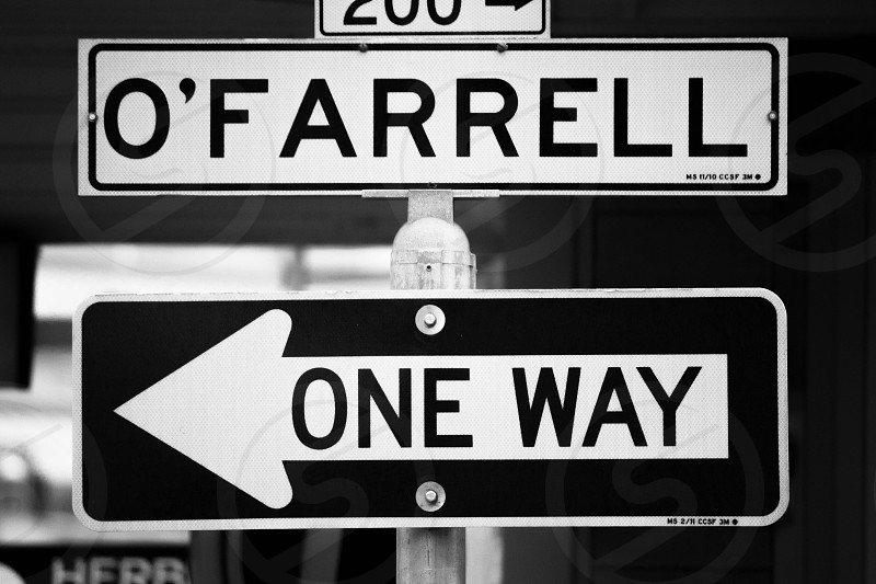 O'farrell Street. San Francisco CA. One Way. Sign. photo
