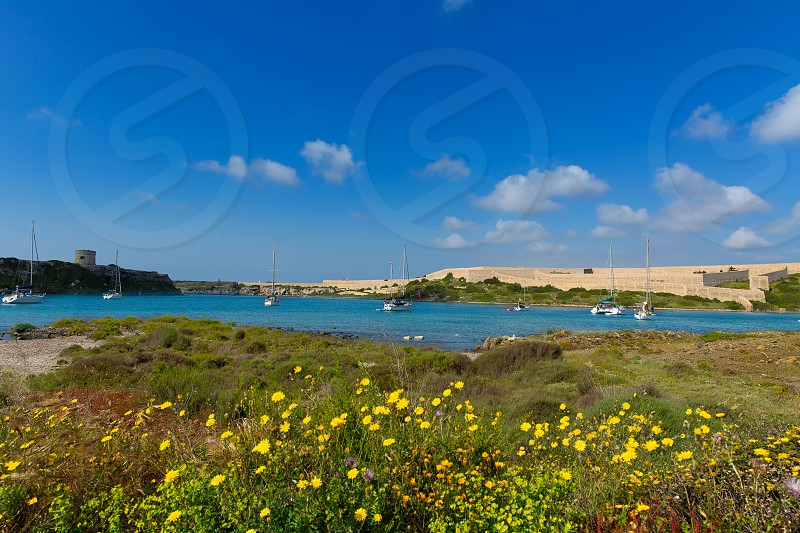 Menorca La Mola in Mahon with sailboats anchored in spring meadow at Balearic islands photo