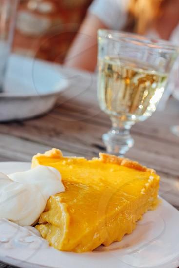 yellow icing on pie photo