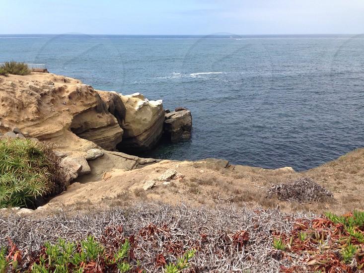 green bush on grey rocky mountain cliff near beach photo