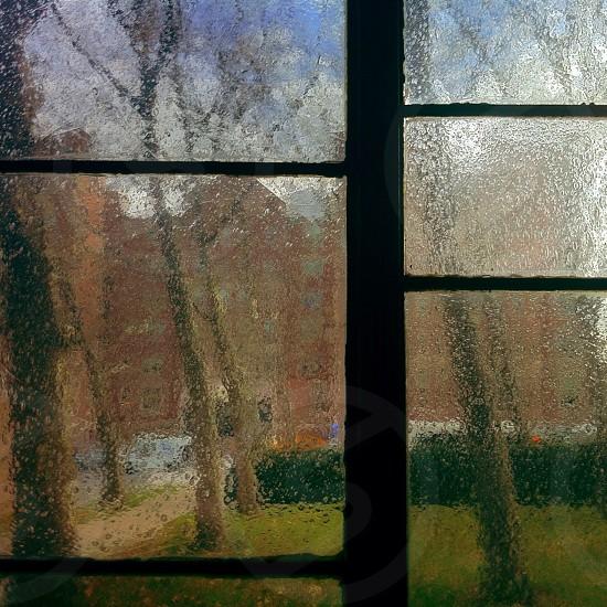 black wooden window photo